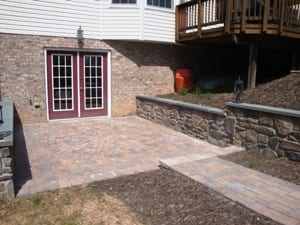 Hardscape Design of Bottom Patio Leading into Basement