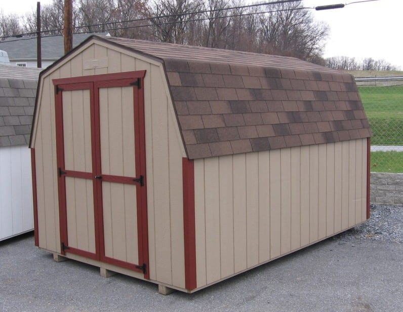 ... 8x10 Cheap Utility Shed   Economy Mini Barn With Duratemp Walls,  Asphalt Shingles And Buckskin