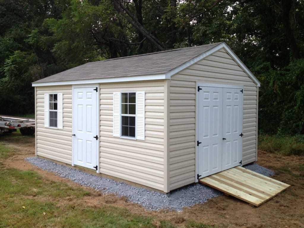 Peak Roof Vinyl Storage Shed With Gravel Site Preparation