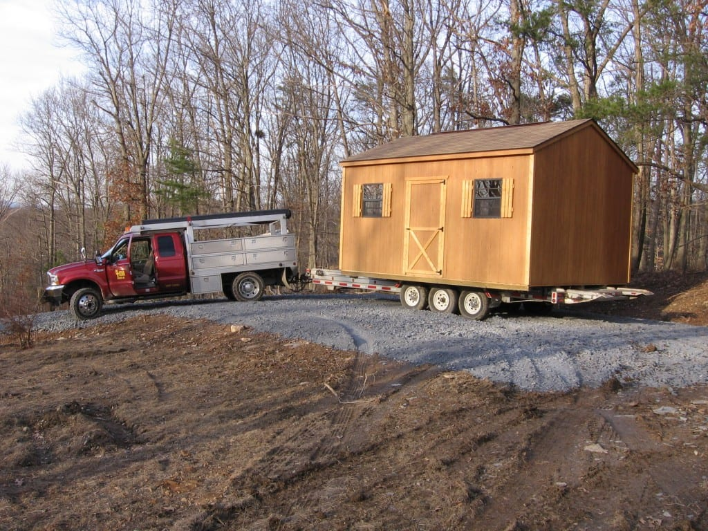 Storage Shed Relocation With Truck And Trailer In Maryland