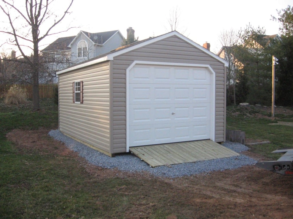 Temporary Garage 12x24 : Vinyl car garage gravel site preparation ramp