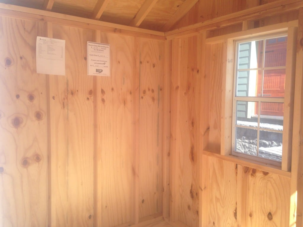 8x10 A-Frame shed for sale in frederick md inside view