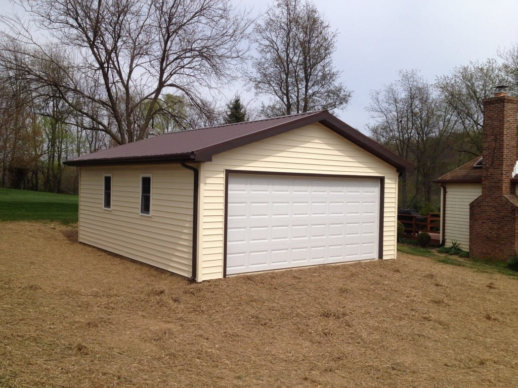 large custom vinyl garage built by 4-outdoor in walkerville maryland completed in the summer of 2015 from the front left angle